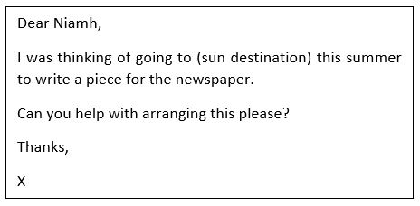 Sample email of somebody applying to a PR agency for a press trip invitation